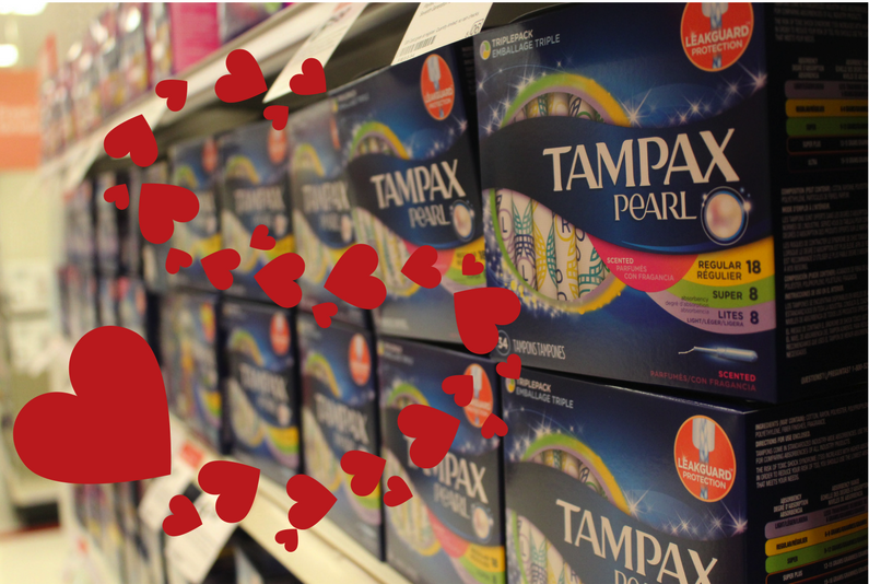 Tampax+markets+discreet+tampons+in+grocery+store+aisles.