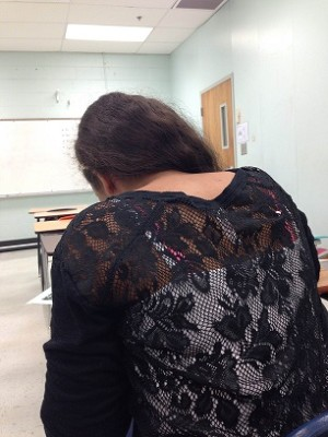 "This student (who asked to remain anonymous)'s second period teacher sent her to in school suspension because the straps of her tank top and her bra were showing through the sheer backing of the shirt she bought. When asked what the student thought of the punishment, she said, ""I just thought the shirt was cute, not offensive."""