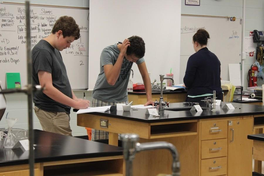 Sophomore Magnet students in Ms. Tidrick's Chemistry class will rotate on an A/B schedule to Mrs. Buckert's World literature course. The Magnet program aims to help students long-term in their studies in both courses with a cross-curricular focus.