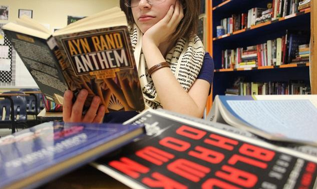 """Foraging through the summer reading's lofty list of literature options, senior Kayley Rapp comes across Ayn Rand's """"Anthem."""""""