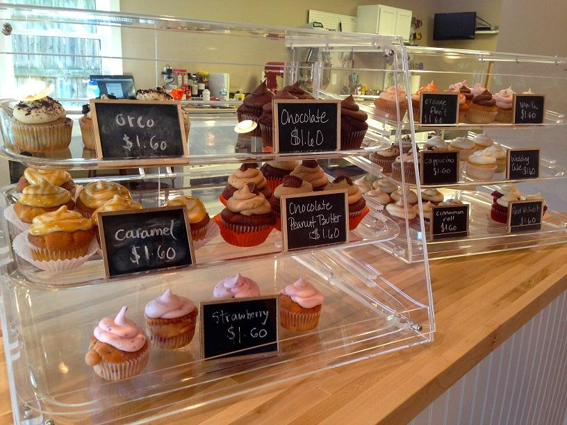 The cupcake display immediately makes the store an inviting place to be. Some of the flavors vary seasonally, and some stay constant all-year long.