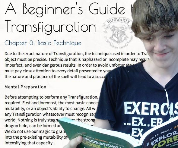 Sophomore Brendan Cotter enrolls into a Transfiguration class through Hogwarts is Here, a fan-created website that features classes from the Harry Potter book series.