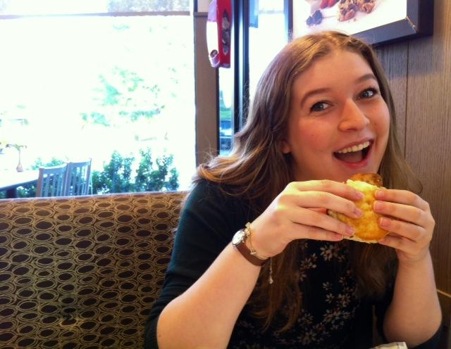 Junior and Chant staffer Anabel Prince mourns over the loss of the regular chicken biscuits and opts to stop by the local Chick-fil-A rather than eating the whole-wheat option the school provides.