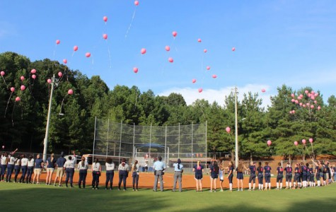 The  Lady Warrior softball team, the umpires, and Marietta Blue Devils look up at the pink balloons just released in honor of survivors and fighters of cancer.
