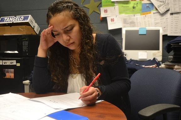 """Students, seniors specifically, stress over the weight of filling out college applications. Senior Jackie Banos gives us a little insight on how stressful it can be. """"Dealing with college stuff is one of the more stressful things I've done because it basically starts the rest of my life,"""" Banos said."""