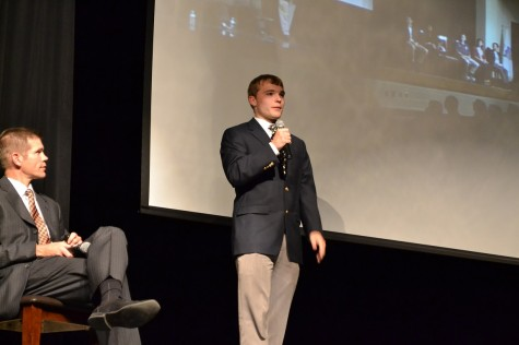 "Senior Zach Connolly presented to the guests in the theater after Mr. Stephenson. ""I felt like getting to hear first hand experiences about Magnet really influences their decision on whether to apply for Magnet or not, which is why it's really important,"" he said."