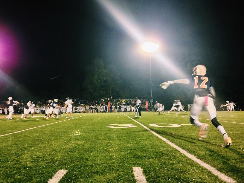 Senior Jordan McCray rushes to left field to aid his team.
