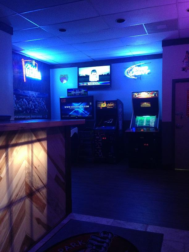 Games set up to the right of the bar serve as a huge draw for locals.