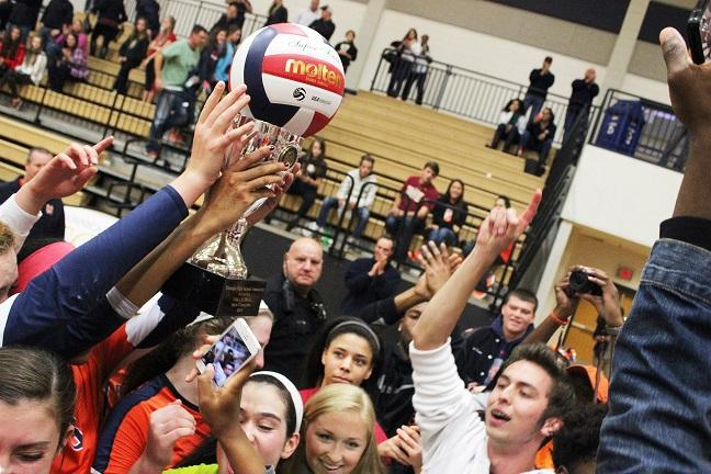The crowd went wild when the Lady Warriors were pronounced the victors. Fans who had stuck with the team throughout the long journey to State crowded the team and cheered.