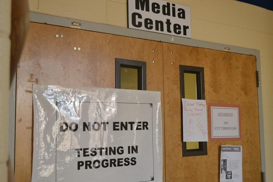 A+sign+asking+all+students+to+refrain+from+entering+the+media+center+marks+the+beginning+of+EOC+testing+season+at+North+Cobb.