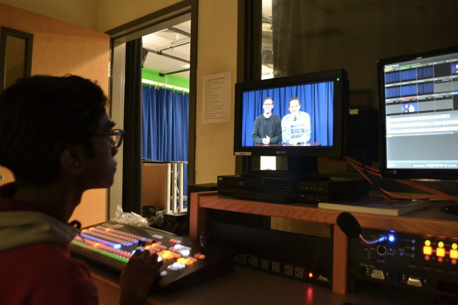 While senior anchor Matt Long and Jack Dimmett perform for their audience on camera, senior producer Fadil Ali faces the responsibility of taking the controls and making the show process run smoothly.
