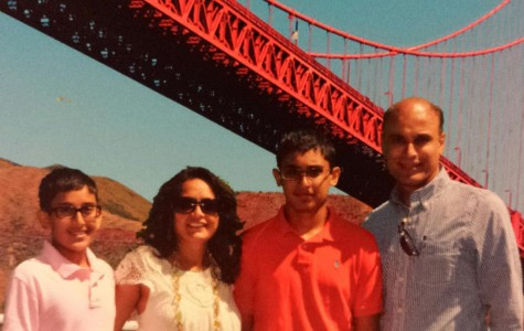 From left to right, freshman Shiv, mother Hema, junior Dev, and father Jay vacationing in San Francisco.