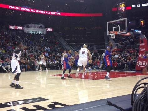 During a game against the Detroit Pistons shows number six Pero Antic driving to the basket.