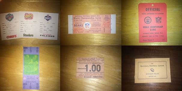 These are draft cards, tickets, and rule books from past NFL seasons. Tickets were once only a dollar and the rule book was only 30 pages.