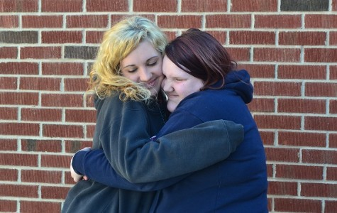 """Seniors Ellen Crisp and Georgia Rohlfs finally reunite as best friends after the break. """"We don't get to see each other much outside of school, so it is exciting to see her after what seems like the longest winter break ever!"""" said Crisp."""