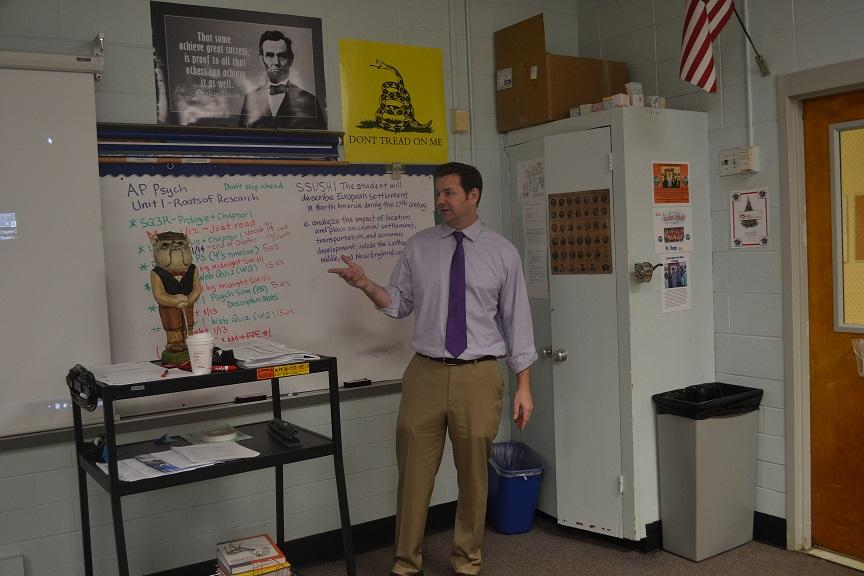 "Mr. Hargis is taking over our AP Psychology class. When The Chant reporter Morgan White asked what his plans were for the class, he said "" Though it may seem like a difficult class, I plan to make it a fun, interesting one."""