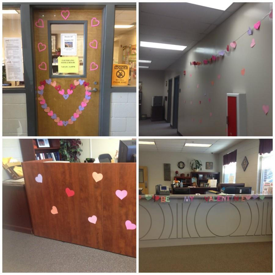 "The counseling office and main office compete on which can decorate the office better for Valentine's Day. Looks like the main office won this time. They decorated two desks with a warm greeting right when you walk in saying ""Happy Valentines Day!"""