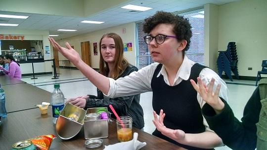 """Junior Darby Franks takes time out of her lunch period to rehearse her monologue in order to audition for the upcoming musical. """"I am very excited for my audition today and I hope everything goes well,"""" she said."""