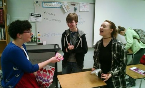 Great friends juniors Darby Franks, Madeline Schohan, and Adrian Vivona celebrate Galentine's Day by exchanging delicious treats and cards with one another.