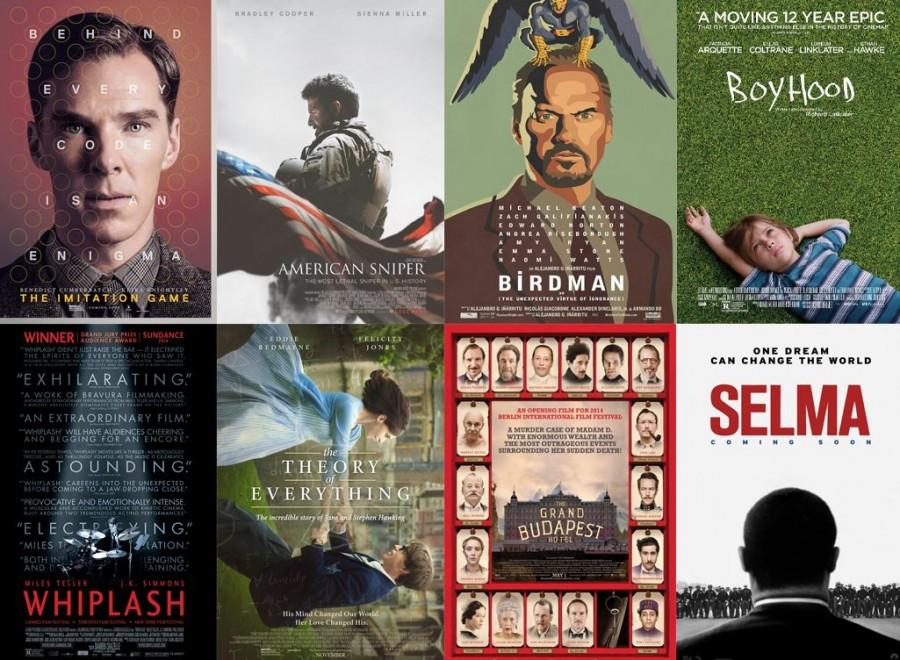 The+movies+nominated+for+Best+Pictures+at+the+Oscars%2C+from+left+to+right%3A+The+Imitation+Game%2C+American+Sniper%2C+Birdman%2C+Boyhood%2C+Whiplash%2C+The+Theory+of+Everything%2C+The+Grand+Budapest+Hotel%2C+and+Selma.+%0A