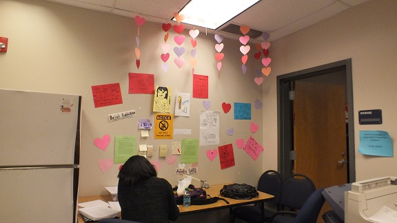 "Watch out! In the counseling office it is not raining men, it is raining Hearts! ""Those hearts were hard to hang and we were worried they would fall, but it was all worth it. They look great,"" senior Amelia Seay said."