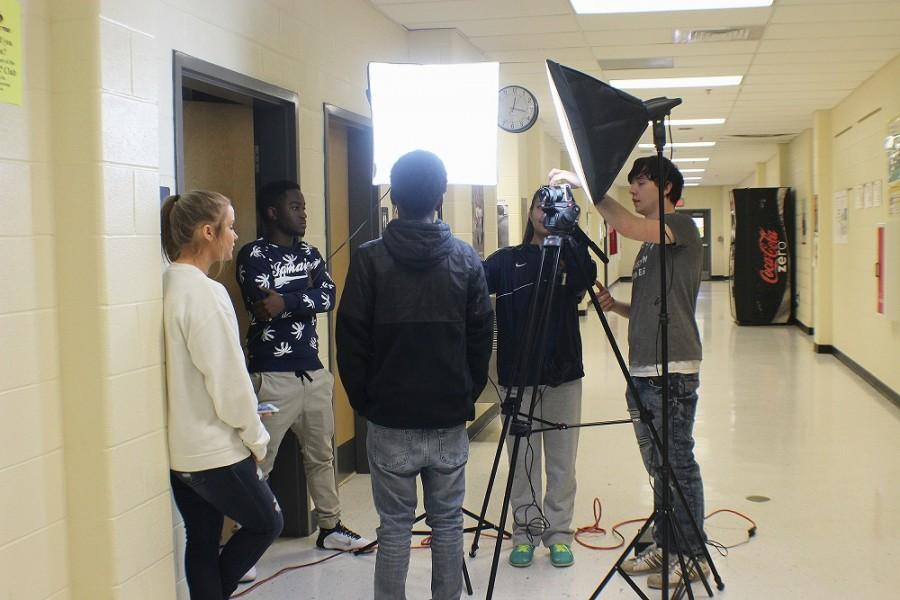 """Video broadcasting gets to work creating the new segment of Tomahawk Today. """"We're working on the funny video for our upcoming show,"""" said junior Mackenzie Hutcheson. """"We have been working hard with high hopes of making Tomahawk Today better."""""""
