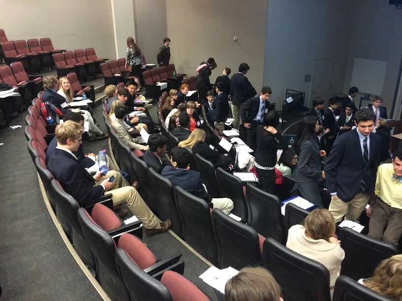 Delegates discuss solutions to arms trafficking in The General Assembly 1st committee during a moderated caucus.