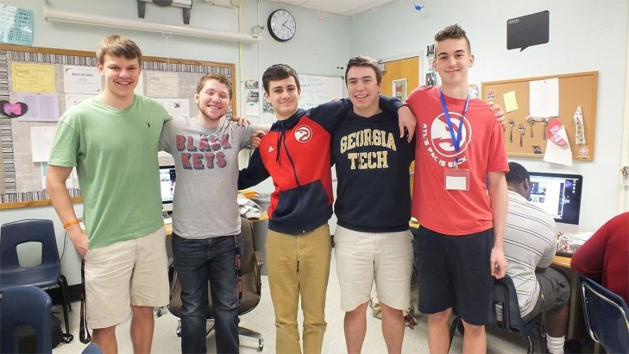 From right to left: senior Cameron Hines, senior Sam Fulkerson, sophomore Emmett Schindler, junior Adam Kovel, and junior Andrew Lubbers reunite with their former Newspaper mentor and friend Sam Fulkerson.