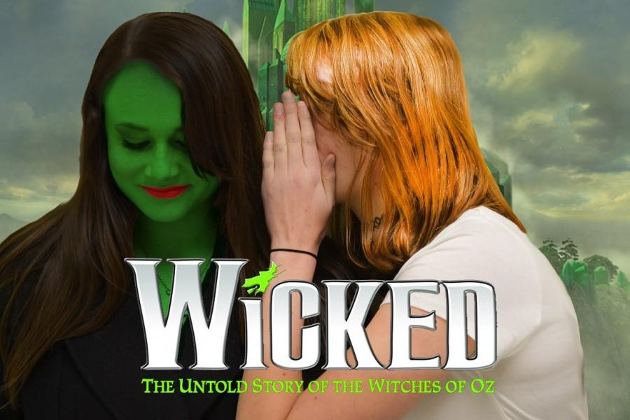 Staff members juniors Melissa Hines and Alex O'Brien recreate Wicked's infamous poster of Elphaba and Glinda.  The memorable musical plays at Atlanta's Fox Theater from February 18th to March 8th.
