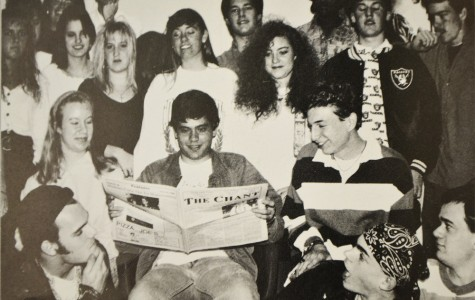 The 1991 yearbook captures a candid moment of The Chant staff. Courtesy of the 1991 NCHS Yearbook.