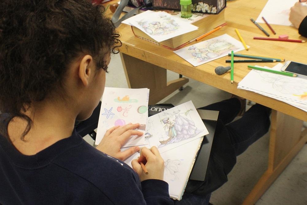 Senior Whitney Cameron draws.