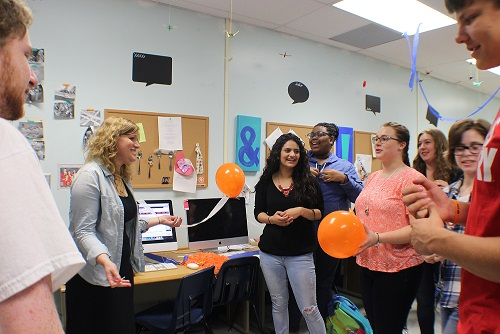 With the help of our major supporter 10th grade World Literature teachers Ms .Brown and Ms. Gerlach, The Chant staff decorates the publication office with streamers and balloons and bringing Publix cake, surprising Ms.Kovel for winning Adviser of the Year at GSPA 2015.