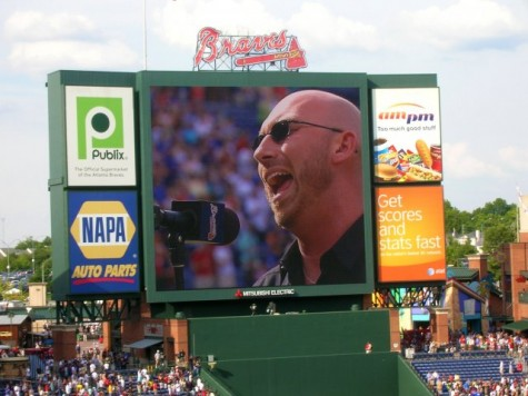 One venue Corey Smith sang at was the Gwinnett Braves Stadium. Smith sang the National Anthem.