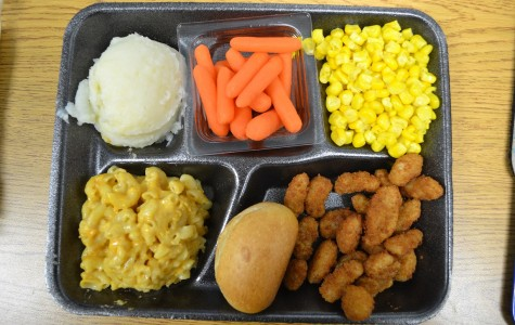 Main Dish: Popcorn shrimp with mac & cheese  Sides: Mashed potatoes, corn, carrots, and an apple