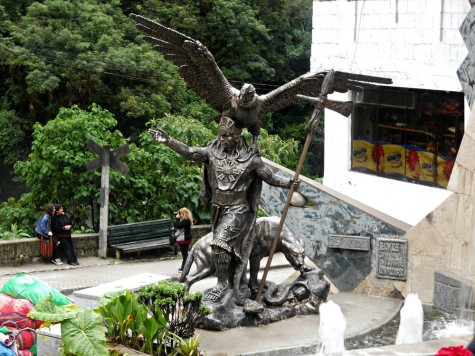 Illustrating the various beliefs and traditions of the Inca people, which survive today, this statue depicts in the Inca concept of Heaven, represented by a bird; Earth, depicted by a puma; and the Underworld, depicted by a snake.