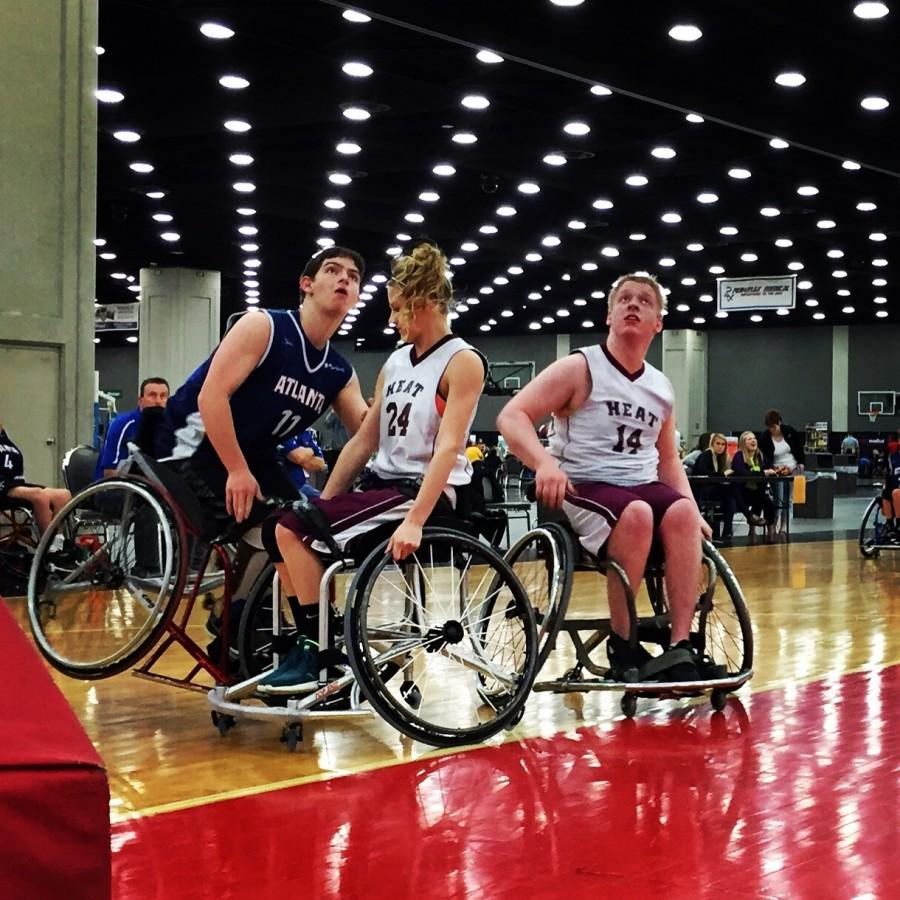 Although Joines's wheelchair may seem like a disadvantage, he uses it as a special weapon to navigate across the court and push his way past opponents, which is allowed in wheelchair basketball.
