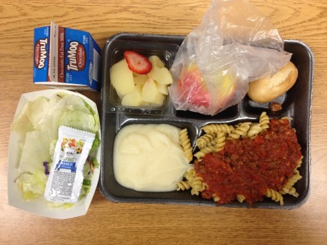 Main Dish: Assorted pasta & sauces with dinner roll Side: Caesar salad, assorted fruit choices, mashed potatoes, and apple