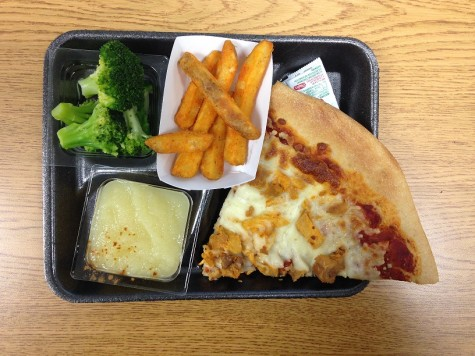 Main Dish: Buffalo Chicken Pizza Sides: Broccoli, potato wedges, and applesauce