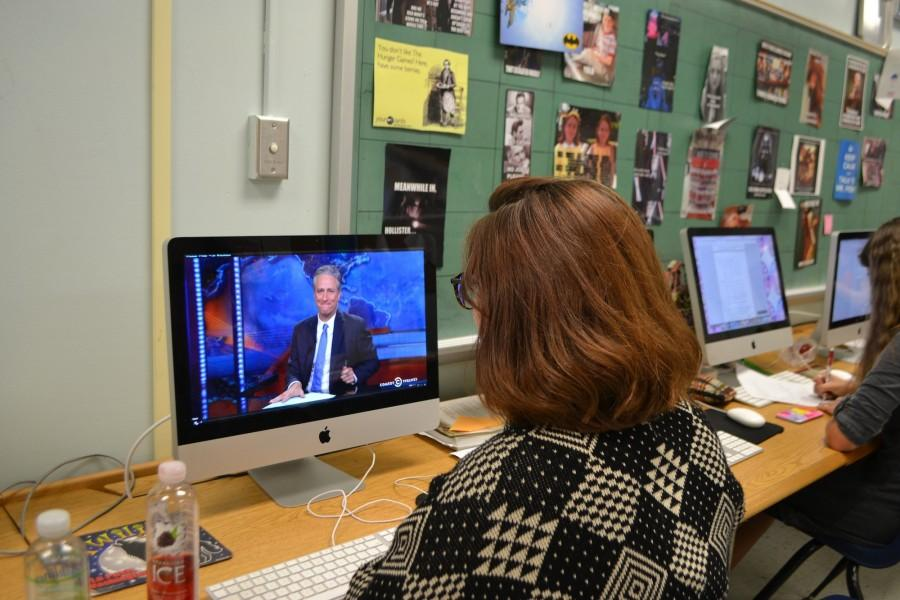 Longtime superfan of Jon Stewart's wit and wisdom in an era of faux news, Allison watches Stewart's farewell episode and tries to hold back tears.