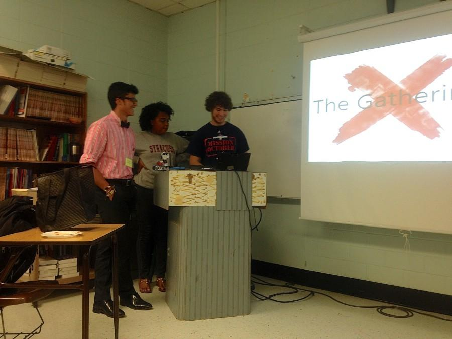The Gathering's creators, seniors Michael Pardo and Ajali Gaines, and junior Chris Trepanier, give a presentation on the club's aspirations.