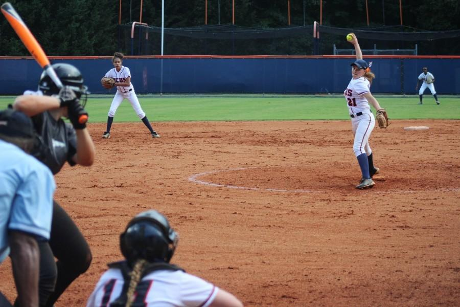 Pitcher Julie Sanderlin (#21) during the first inning of the varsity softball game against Kennesaw Mountain.