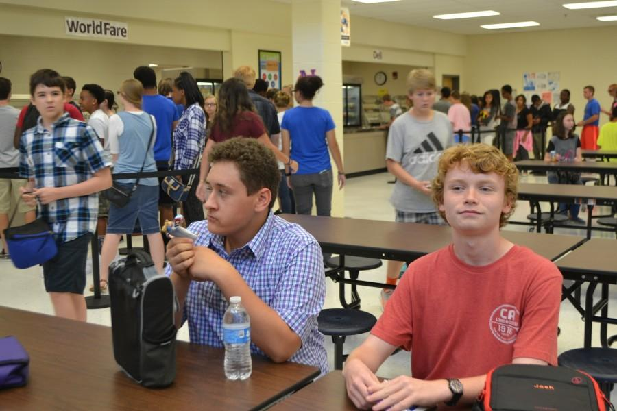 Freshmen Cole Wilson and Josh Jenkins relax at lunchtime, taking a brief break from the school day.