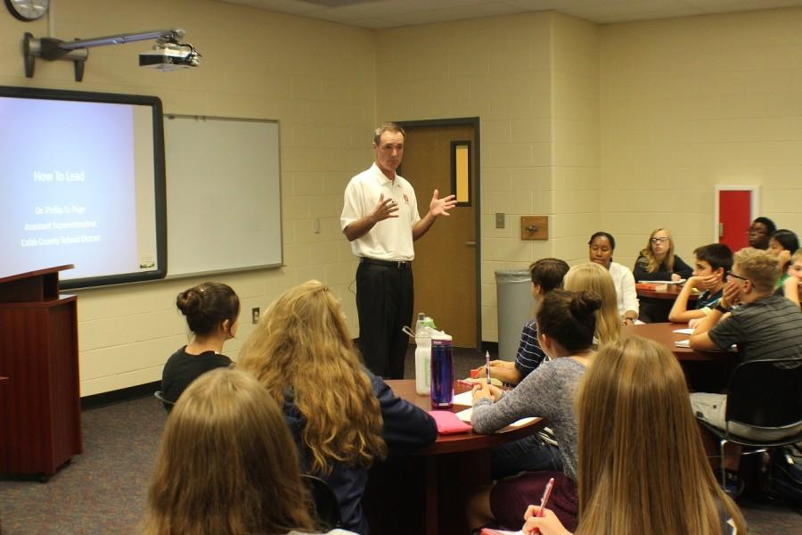 Magnet students attended Dr. Page's leadership seminar, which he does every year for the new freshmen.