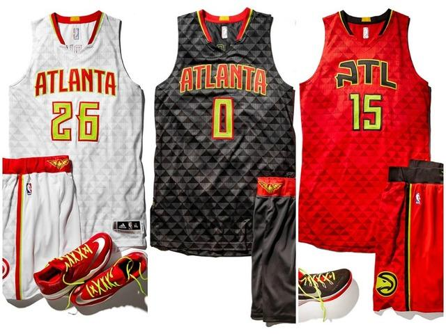 The Hawks unveiled their new uniforms for the 2015-2016 season in late June. The white uniform is home, the black is the primary road uniform, and the red is an alternate away uniform.