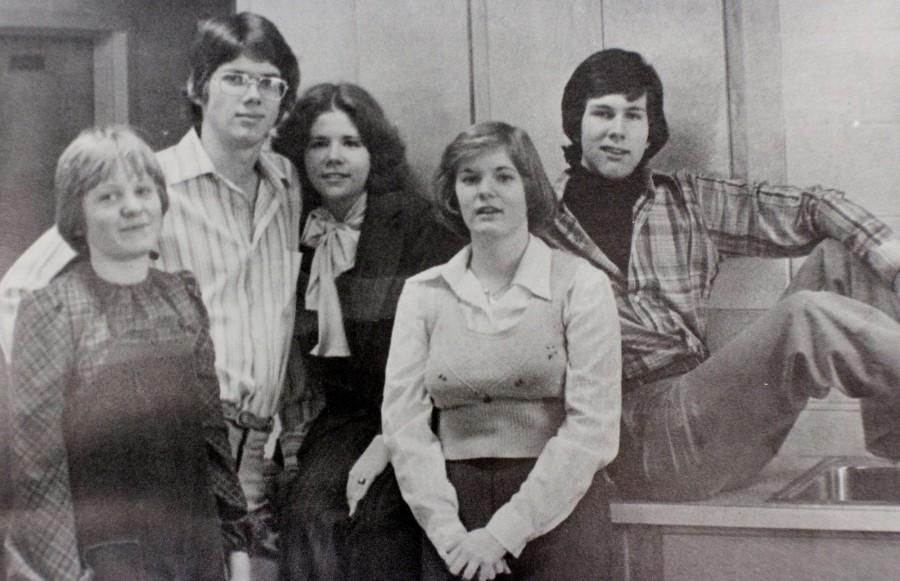 NC drama students from the year 1977 pose during a long rehearsal.