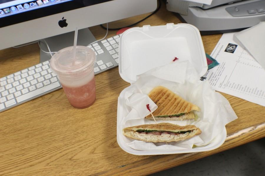 The Warrior Club Panini, combined with the strawberry banana smoothie, possess a smoked turkey breast, bacon, spinach, tomato, provolone cheese, and light mayo. The name remains a nod to NC, which lies across the street.