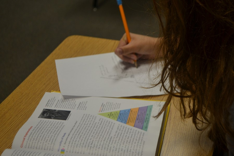 Caption: Coach Hargis' Psychology class works diligently on a class project. The objective of the 'Hierarchy of needs' project is to teach the students the importance of one's basic needs. Students enjoy the time to stop writing notes and learn in a creative fun way.
