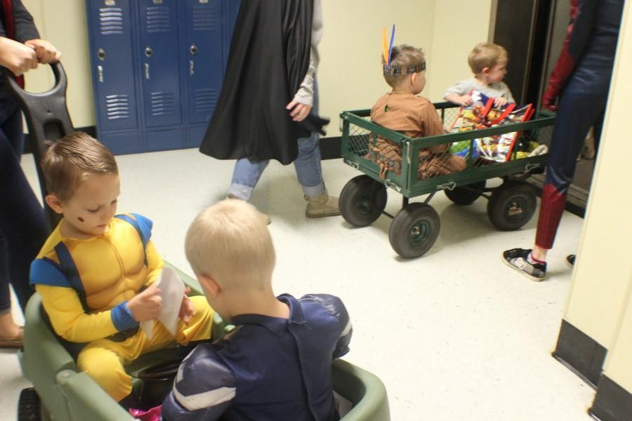 Students in the Early Childhood development class took the kids to and from different classes. The participants showed of their diverse costumes to NC students in the hallways.