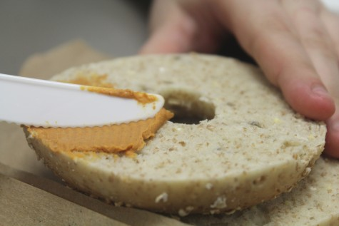 By itself, the cream cheese may look odd with its vivid color, but when spread on a bagel, it had a tolerable flavor.