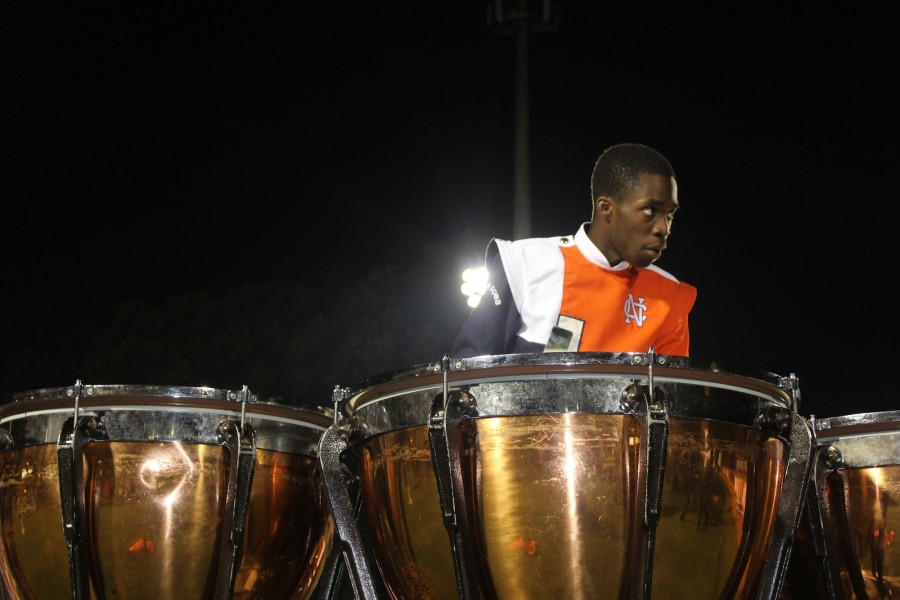 """Senior Timpani player, Maliel, is the first person to play during the Marching Band act 1 opener. He states, """"It's nervous being the first person to play but it also is exciting as I'm the first person heard."""""""